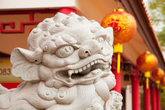 Chinese lion statue in temple Stock Photos