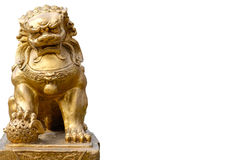 Chinese lion statue. In white background royalty free stock photos