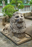 Chinese lion statues in Chinese temple Stock Photo