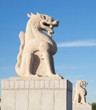 Chinese lion statues. Giant Chinese lion statues protective symbole royalty free stock photography
