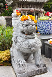 Chinese Lion Stone Statue with Marigolds garlands on head Royalty Free Stock Photo