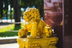 Chinese lion stucco royalty free stock photography