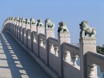 Chinese Lions. Bridge with Chinese Lions in a park in Quanzhou, China Stock Image