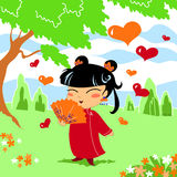 Chinese little girl. Young chinese girl in love. Vector illustration stock illustration
