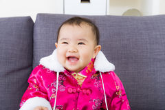 Chinese little girl feel so happy Royalty Free Stock Photo