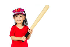 Chinese little girl holding baseball bat Royalty Free Stock Image