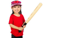 Chinese little girl holding baseball bat Stock Image