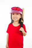 Chinese little girl holding baseball bat Royalty Free Stock Photo