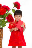 Chinese little girl holding red envelope Royalty Free Stock Photography