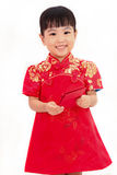 Chinese little girl holding red envelope Stock Photos