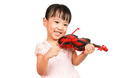 Chinese Little Girl Playing Violin Stock Image