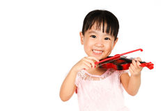 Chinese Little Girl Playing Violin Stock Photos