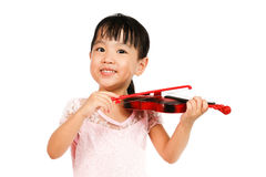 Chinese Little Girl Playing Violin Royalty Free Stock Photo