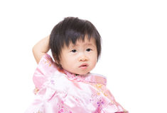Chinese little girl scratch her head Royalty Free Stock Images