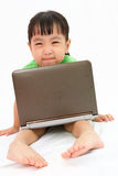 Chinese little girl sitting on floor with laptop Stock Images