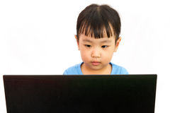 Chinese little girl using laptop Stock Images