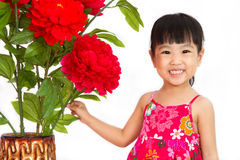 Chinese little girl wearing in Red posing with flowers Stock Photography