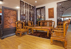 Chinese living room 01. Chinese classical furniture, with all the finest wood, after artificial fine processing manufacturing Royalty Free Stock Photography