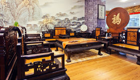 Chinese living room 02. Chinese classical furniture, with all the finest wood, after artificial fine processing manufacturing Stock Image
