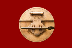 Chinese Lock. Old Asian Brass Lock from a Linen Trunk Royalty Free Stock Photography