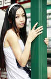 Chinese long-haired girl outdoor Stock Image