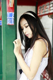 Chinese long-haired girl outdoor Royalty Free Stock Photography