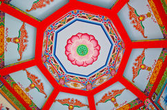 Chinese lotus ceiling. China beautiful lotus motifs that come with the ceiling of the chapel Royalty Free Stock Photography