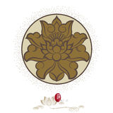 Chinese lotus flowers. Chinese virtual po-phase flowers: lotus,paeony suffruticosa, chrysanthemum composition royalty free illustration