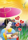 Chinese love. Chinese woman with love signs Royalty Free Stock Photo