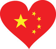 Chinese Love. Heart with the 5 stars of the chinese flag Royalty Free Stock Image