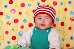 Chinese lovely baby. Portrait of cute Chinese baby boy Royalty Free Stock Photo