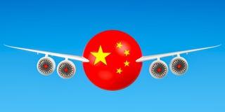 Chinese luchtvaartlijnen en flying& x27; s, vluchten aan het concept van China 3d trek uit Stock Foto