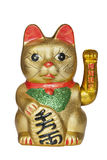 Chinese Lucky Cat isolated on White background. The Maneki Neki Cat is traditional cultural statue from Japan that is believed to bring great wealth and fortune royalty free stock photos