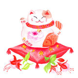 Chinese lucky cat sitting on the red pillow with fuchsia and wav. Ing paw. Watercolor hand-drawn vector design element Royalty Free Stock Photography