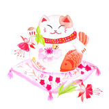 Chinese lucky cat sitting on the red pillow with fuchsia and wav. Ing paw. Watercolor hand-drawn vector design element Royalty Free Stock Photos