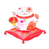 Chinese lucky cat sitting on the red pillow and holding the lant. Ern. Watercolor hand-drawn vector design element Royalty Free Stock Image