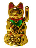 Chinese lucky cat on white. Maneki-neko Chinese lucky cat isolated royalty free stock photography
