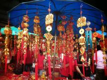 Chinese lucky charm shop at chinatown bangkok thailand on chinese new year 2015 Royalty Free Stock Images