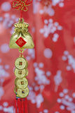 Chinese Lucky Knot  on red background Royalty Free Stock Photography