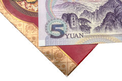 Chinese lucky money red envelope and Yuan royalty free stock images