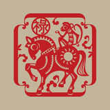 Chinese lucky symbol Monkey rides a horse Stock Photos
