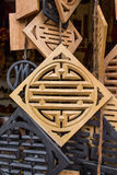Chinese lucky symbols. In wooden craft royalty free stock images