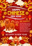 Chinese Lunar New Year banner of dog and dragon. Chinese Lunar New Year holiday banner with dragon, pagoda and zodiac dog. Oriental Spring Festival greeting card vector illustration
