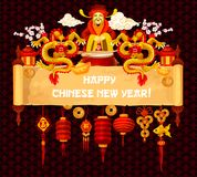 Chinese New Year greeting card on parchment scroll. Chinese Lunar New Year greeting card on old scroll. Oriental lantern, golden dragon, gold ingot and god of Royalty Free Stock Photography