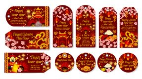 Chinese Lunar New Year holiday gift tag and label. Oriental Spring Festival dragon, red lantern and pagoda, golden coin, god of wealth and fan festive banner Royalty Free Stock Image