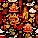 Chinese Lunar New Year holidays seamless pattern. Background. Oriental lantern, god of prosperity and golden dragon, Spring Festival pagoda, fortune coin and Stock Images