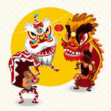 Chinese Lunar New Year Lion Dance Fight Royalty Free Stock Photo