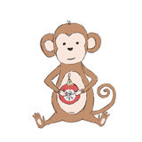 2016 Chinese Lunar New Year Monkey Holding. Christmas Ball in Paws. Vector illustration Royalty Free Stock Image