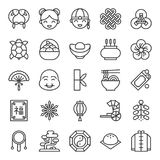 Chinese lunar new year outline icon. Big set of Chinese lunar new year outline icon Stock Images