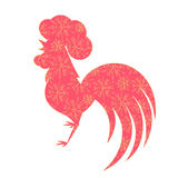 Chinese Lunar New Year 2017. Silhouette of of the cock with a floral ornament. Spring Festival. Red Rooster.  Royalty Free Stock Photos